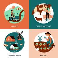 Fazenda orgânica 4 ícones plana Banner