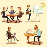 Conjunto de ícones de desenhos animados de empresários vetor