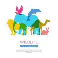 Cartaz de composição plana de silhuetas de animais vetor
