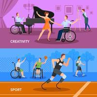 Pessoas com deficiência 2 composição plana Banners vetor