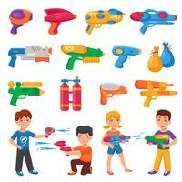 Conjunto de pistolas de água vetor