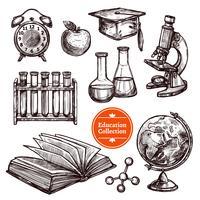 Conjunto de desenho de mão desenhada de educação vetor