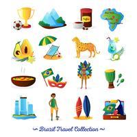 Conjunto de ícones plana de símbolos de cultura brasileira vetor
