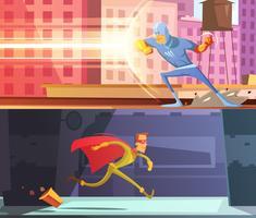 Conjunto de Banners de super-heróis vetor