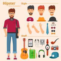 Hipster Boy Character Conjunto de ícones decorativos vetor