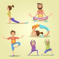 Conjunto de desenhos animados retrô de ioga vetor