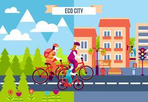 Ícones decorativos de cidade de eco vetor