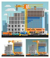 Conjunto de composições de construção e cidade vetor