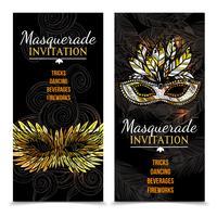 Banners de carnaval de máscaras vetor