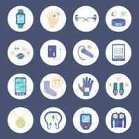 Conjunto de ícones de tecnologia inteligente rodada vetor