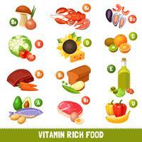 Produtos alimentares ricos em vitamina vetor