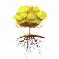 Árvore com ilustração de Cartoon retrô de raiz
