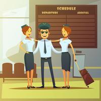 Ilustração dos desenhos animados de companhias aéreas vetor