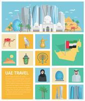 Conjunto de ícones decorativos dos Emirados Árabes Unidos vetor