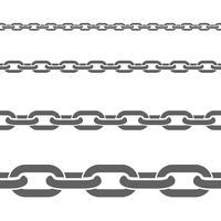 Conjunto de padrões de horizontal de correntes de metal vetor
