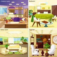 Conceito de Design de interiores 2 x 2 de sala de estar