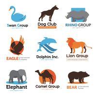 Coleção de emblemas plana de animais selvagens