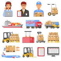 Conjunto de ícones decorativos de logística e entrega vetor