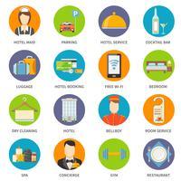 Conjunto de ícones de serviço de Hotel vetor