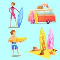 Conjunto de ícones do surf retrô Cartoon 2x2 vetor
