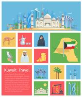 Conjunto de ícones do Kuwait vetor