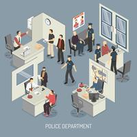 Composição isométrica do departamento de polícia vetor