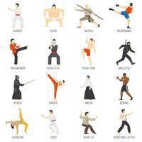 Conjunto de ícones plana decorativa de artes marciais