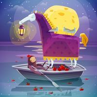 Cavalo com cartaz surreal do sonho da lanterna vetor