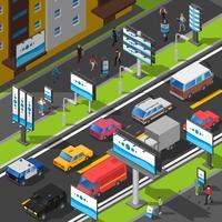 Ilustração isométrica de publicidade de rua vetor