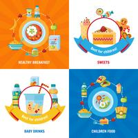 Comida para bebé 4 ícones lisos quadrados vetor