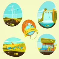 Conjunto de desenhos animados de energia ecológica vetor