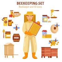 Conjunto de ícones de ilustração de mel de apicultura vetor
