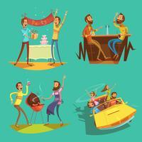 Conjunto de desenhos animados de amigos vetor