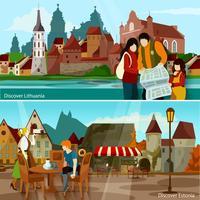 Conjunto de composições de paisagens urbanas europeias vetor