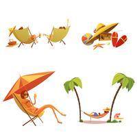 Conjunto de ícones de desenhos animados de férias de verão