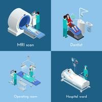 Equipamento médico isométrico 4 ícones quadrados