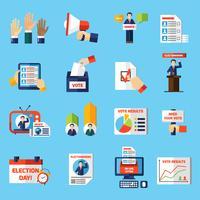 Eleições e voto conjunto de ícones plana vetor