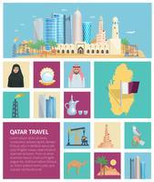 Conjunto de ícones plana de cultura do Qatar vetor
