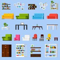 Conjunto de ícones ortogonais de elementos interiores
