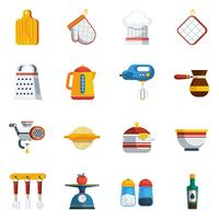 Conjunto de ícones de utensílios de cozinha vetor