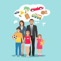 Ilustração de sonhos de família
