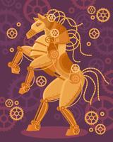 Poster dourado do cavalo de Steampunk