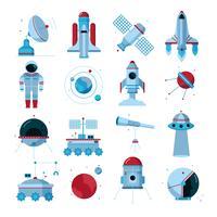 Conjunto de ícones plana de equipamentos de instrumentos de naves espaciais
