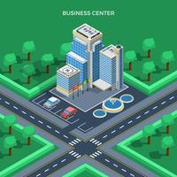 Conceito de vista superior isométrica de centro de negócios vetor