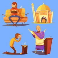 Conjunto de ícones de Cartoon de religião vetor