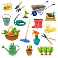 Ícones de cor decorativa de jardinagem