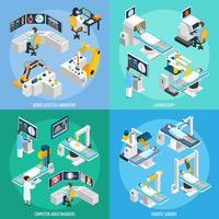 Conceito de Design 2x2 isométrica de cirurgia robótica