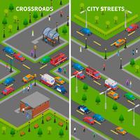 Banners verticais de tráfego de rua isométrica vetor