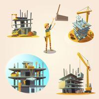 Conjunto de desenhos animados de construção vetor