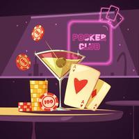Ilustração retro dos desenhos animados do clube do póquer do casino